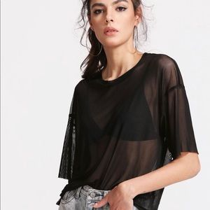 Boxy sheer mesh top